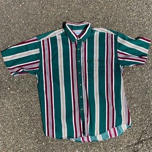 Vintage Striped Short Sleeve Button-Down Shirt